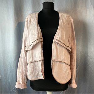 Lauren Vidal zipper wave linen blazer jacket